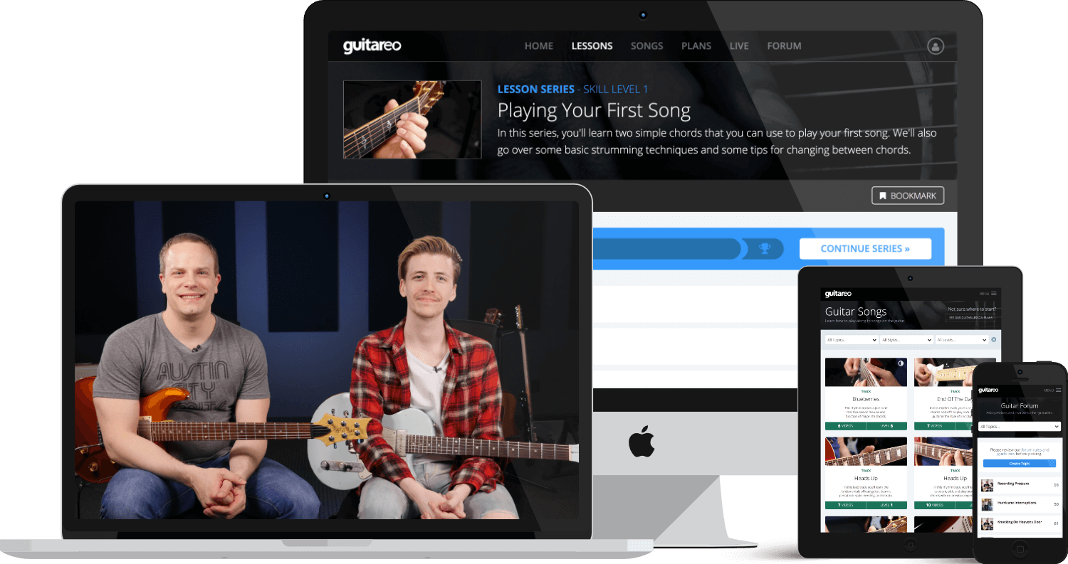 Nate Savage and Andrew Clarke in one of Guitareo's highly rated live lessons